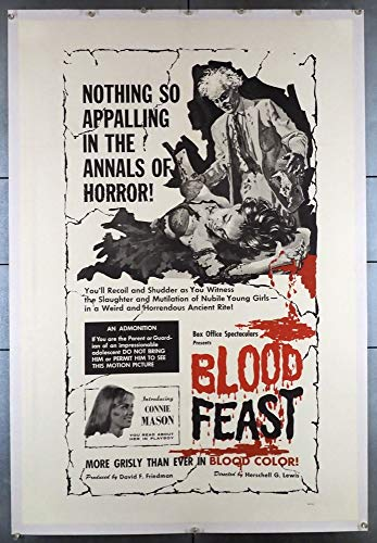 - Blood Feast (1963) Original One Sheet Poster (27x41) Linen-Backed Film Directed by Herschell Gordon Lewis Fine Condition Theater-Used Now Presents in Very Fine Condition