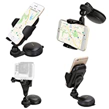 iKross Gel Pad Window Windshield Car Mount Holder with Adapter for GoPro Hero, Smartphone, Digital Compact Camera