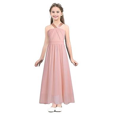 e744f7960eba2 Freebily Enfant Robe De Mariage Princesse Fille Robe Demoiselle d honneur  Soirée en Mousseline Bretelles