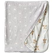 Rene Rofe Baby Unisex-Baby Newborn Teddy Bears and Stars Plush Coral Fleece Blanket, Multi, One Size