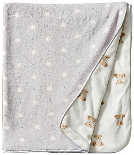 Rene Rofe Baby Baby Teddy Bears and Stars Plush Blanket, Vanilla, One Size - Teddy Nursery