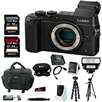 Panasonic Lumix DMC-GX8 Mirrorless Micro Four Thirds Digital Camera (Body Only, Black) + Sony 32 & 64GB Memory Card + Wireless LED Flash + Battery + Accessory Bundle