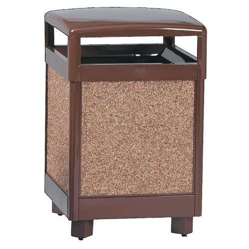 RUBBERMAID Aspen Series Outdoor Waste Receptacle, Sq, Steel, 38gal, BN (Case of 2)