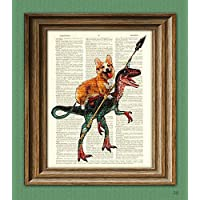 CollageOrama Cavedog the Corgi rides a Velociraptor Dinosaur dog original art vintage dictionary page book art print, 8.5 x 11 Inch