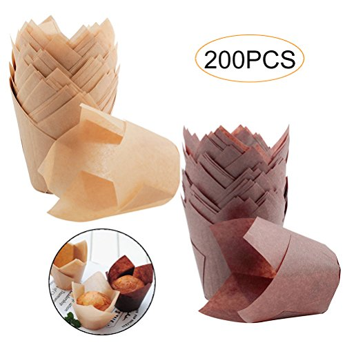 - 200 Pcs Tulip Baking Cups, Cooyeah Paper Cupcake Muffin Liner for Birthday, Wedding, Party, Brown and Natural Color