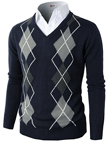H2H Mens Casual Slim Fit Pullover Argyle Pattern Long Sleeve Sweater Navy US M/Asia L (CMOSWL013) ()