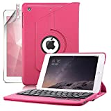 iPad Mini Case with Keyboard, Boriyuan Protective Folding Flip PU Leather Case Folio Stand Cover and Removable Detachable Wireless Bluetooth Keyboard for Apple iPad Mini 3/ iPad Mini 2 with Retina/ iPad Mini 7.9 inch Tablet with Elastic Strap Latch and Mu