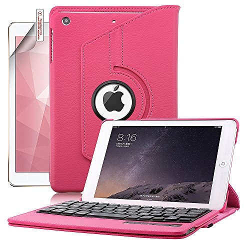 iPad Mini Case with Keyboard, Boriyuan Protective Folding Flip PU Leather Case Folio Stand Cover and Removable Detachable Wireless Bluetooth Keyboard for Apple iPad Mini 3/ iPad Mini 2 with Retina/ iPad Mini 7.9 inch Tablet with Elastic Strap Latch and Mu by Boriyuan