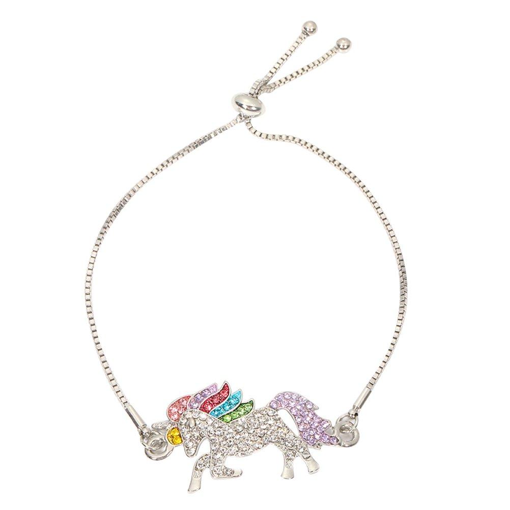 LUOEM Bracelet Licorne Bracelet à la Mode Cristal Bijoux pour Femmes Filles Cadeaux (Argent)
