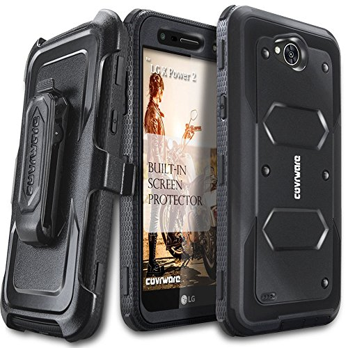 LG X Power 2 / Fiesta 2 / X Charge / Fiesta LTE / K10 Power Case, COVRWARE [Aegis Series] w/ Built-in [Screen Protector] Heavy Duty Full-Body Rugged Holster Armor Case [Belt Clip][Kickstand], Black (Telephone Clip Power)