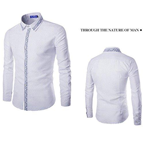 Honghu Moda Hombre de Manga Larga Casual Slim Fit Negocios con estilo Camisas Blanco
