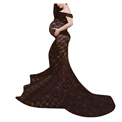 Women's Off Shoulder Long Sleeve Lace Maxi Maternity Gown Photography Dress Baby Shower Photo Shoot: Clothing