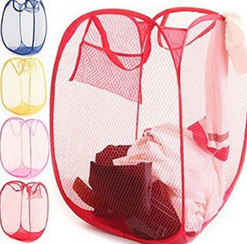 Liroyal 1pcs folding laundry basket network storage bag travel/home use(color randomly send)