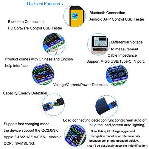 MakerHawk UM25C USB Tester, Bluetooth USB Meter, Type-C Current Meter, USB Power Meter, DC 24.000V 5.0000A, USB Cable Tester, 1.44 inch Color LCD Multimeter, Voltage Tester, USB Load, QC 2.0 QC 3.0 by MakerHawk (Image #4)