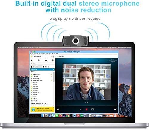 Camara web 1080P HD con micrófono, cámara web de computadora USB para computadora portátil, reducción de ruido, visión de ángulo amplio de 105 ° para streaming, confrencia de zoom, juegos, YouTube Skype FaceTime. (Negro) 51nKC2RWejL