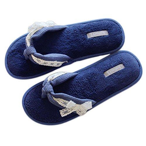 Bout Jds Foncé Chaussons Bleu Fortuning's Filles Dentelle Femmes Plate Sandales Tongs Arc Plateforme Ouvert Velours Maison 7zqzdn4