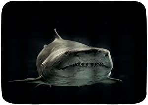 "QiHouse Microfiber Bath Mat Rug,Great White Shark Decoration,Bathroom Rugs Carpet Non Slip,29.5"" X 17.5"""