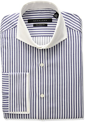Sean John Tailored Dress Shirt (Sean John Men's Tailored Fit Stripe Cutaway Collar Dress Shirt, Blue Velvet, 16