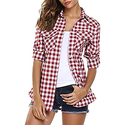 Besde Clearance Fashion Casual Womens Tartan Plaid Flannel Shirts Roll up Sleeve Tops Button Down Blouse