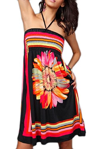 Printed High Wrapped Dress Backless Coolred Chest Black Flower Neck Midi Women 50Ownqx7a4