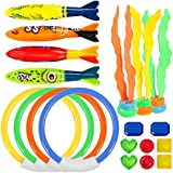 UNEEDE Diving Toy Underwater Swimming/Diving Pool Toy Rings 19 Pack for Pool Use, Toypedo Bandits,Stringy Octopus with Under Water Treasures Gift Set Bundle,Ages 3 and Up
