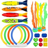 UNEEDE Underwater Swimming/Diving Pool Toy Rings 19 Pack Use, Toypedo Bandits,Stringy Octopus with Under Water Treasures Gift Set Bundle,Ages 3 and up