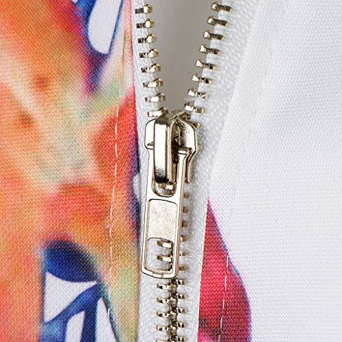 Suave Mujeres Baseball Elegante Casual Sensación Fityle Cómoda Blanco Bomber Retro Chaqueta Zipper Floral F 0twzP6