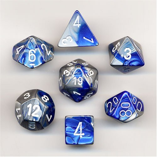 Chessex Polyhedral 7-Die Gemini Dice Set - Blue-Steel with White -