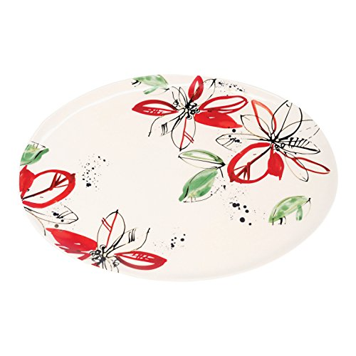 (FLOOR | 9 Christmas/Holiday Poinsettia Ceramic Serving Platter with Real Gold Accents, Large)