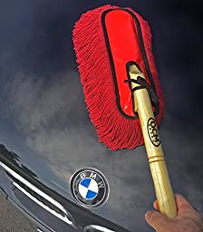 Premium Extra Large Car Duster with Durable Solid Wood Handle includes Storage Cover - Professional Detailers Top Choice