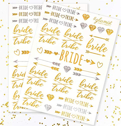 #glamist Bachelorette Party Tattoos   Bride Tribe, Maid of Honor + 52 Pieces (2 Sheets)   Bridal Shower Favor and Decorations   Gold & Platinum