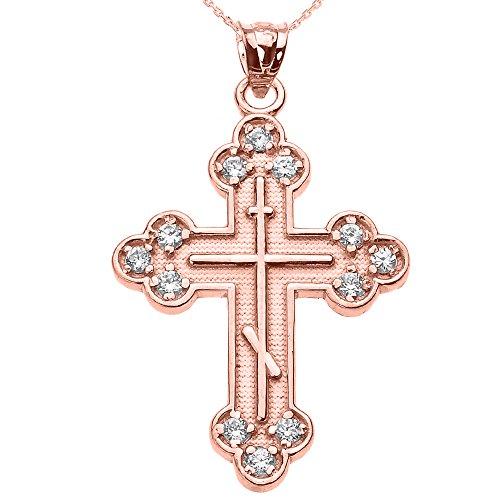 Collier Femme Pendentif 10 Ct Or Rose Oxyde De Zirconium L'Est Orthodoxe Croix (Livré avec une 45cm Chaîne)