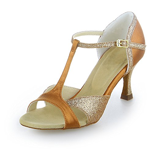 e810f37786fa JIA JIA J2055 Women s Satin Sandals Flared Heel Latin Salsa Performance  Dance Shoes Color Tan