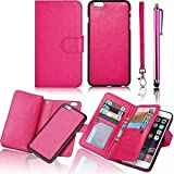 Apple iPhone 6 6S 4.7 Inch PU Leather Case,Vandot [Magnetic Detachable] Premium Popular Multi-purpose Women Wallet Case Wrist Strap Purse With Card Slots Flip Folio Book Business Style Cellphone Pattern+Universal Screen Stylus Touch Pen-Rose Red