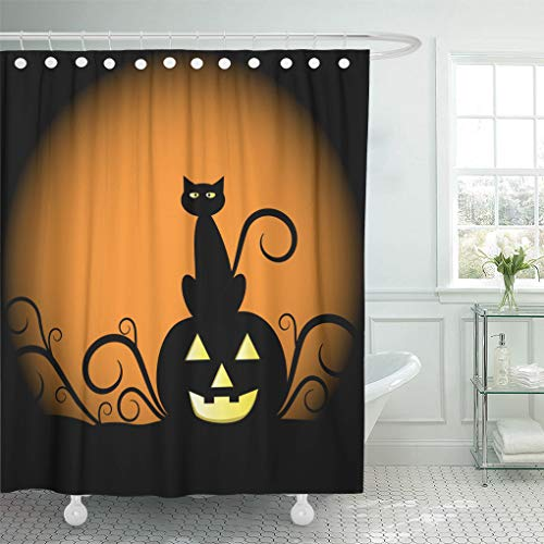 Ladble Waterproof Shower Curtain Curtains Orange Halloween Pumpkin and Cat Yellow Black Moon October Clipart 72