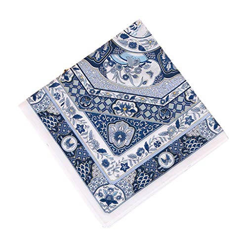 Danyerst Women Couples Cotton Square Handkerchief Colored Porcelain Floral Printing Pocket Hankies Wedding Party Napkin Gifts 45x45cm -