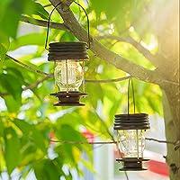 Farolillos solares colgantes 2 unidades de lámpara de jardín al aire libre LED Vintage Luces solares colgantes con mango para caminos, patios, árboles, playa, pabellones: Amazon.es: Iluminación