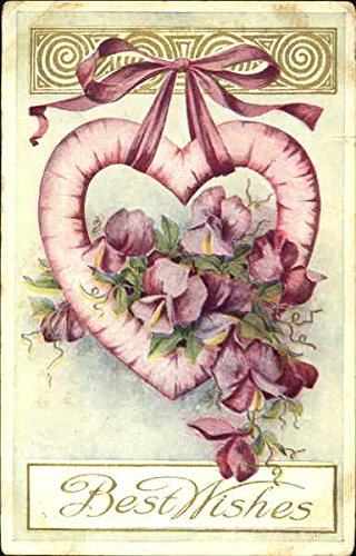 Hanging Heart with Flowers Entwined on it Other Valentines Original Vintage Postcard from CardCow Vintage Postcards