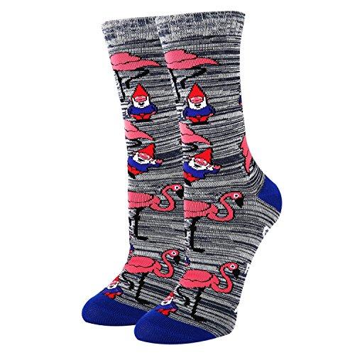 Novelty Crazy Flamingos Crew Socks for Women Girls,Funny Gnomes Cotton Socks in Grey