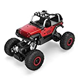 RC Cars Off-road Vehicles Rock Crawler Monster Trucks 4WD RC Trucks 1:18 2.4GHz RC Hobby Cars Racing Cars with LED Light Christmas Gifts for kids- Red