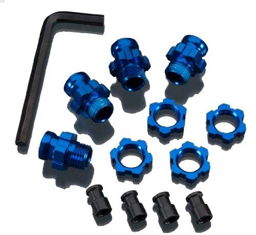 Traxxas 5853X Blue-Anodized Aluminum 17mm Wheel Hub adapters, (set of -