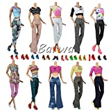 Barwa Causal Summer Clothes for Barbie 20 items = Curvy Barbie Doll Clothes Outfit 5 Tops 5 Trousers Pants +10 Pair Shoes for Barbie Doll Random Style