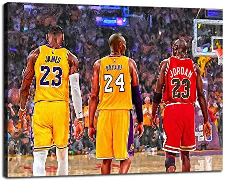 Basketball Star Canvas Wall Art Mural James Kobe and Jordan Poster Print Picture Colorful Oil Painting Framed Decoration