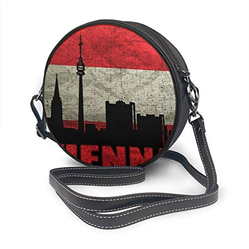 JimHappy Round Crossbody Bag, Austria Vienna Architecture Handbag Purse Single Shoulder Bag