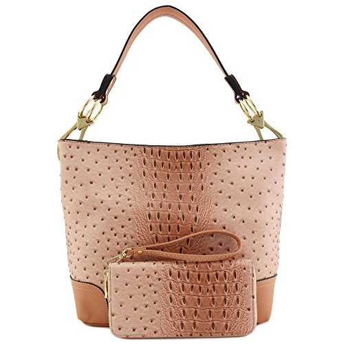 2 PC Set Ostrich Hobo Shoulder Bag with Big Snap Hook and Wallet (Blush Hobo)