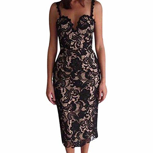 QIYUN.Z Las Mujeres Atan El Vestido Bodycon Vestido De Cuello Halter De Maniobra Coctel De Flores De Ganchillo Negro (Revestimiento De Albaricoque)