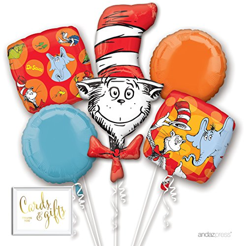Andaz Press Balloon Bouquet Party Kit with Gold Cards & Gifts Sign, Dr. Seuss Cat in the Hat Birthday Foil Mylar Balloon Decorations, 1-Set