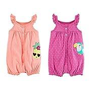 Carter's Baby Girl's 2 Pack Cotton Romper Creeper Set (Newborn, Sleeveless Orange Pineapple and Pink Toucan)