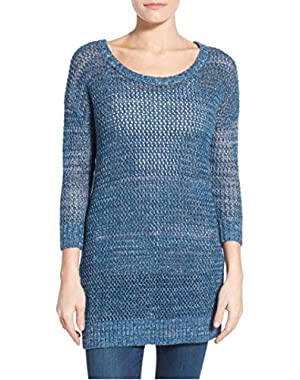 Lace-Up Back Sweater, Blue, X-Small