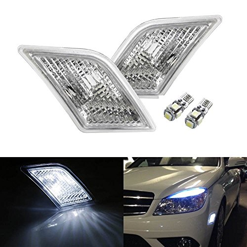 iJDMTOY (2) Xenon White LED Lights w/ Clear Lens Side Marker Lamps For 2008-2011 Mercedes Benz W204 C250 C300 C350 & 2008-2013 C63 AMG (Amg C63)